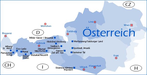 winterreise.de - übersichtskarte Östrreich