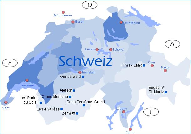 winterreise.de - übersichtskarte Schweiz